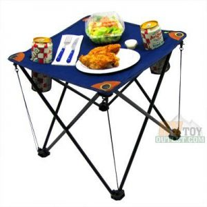 Collapsing Camping Table Folding Table with Drink Holders and Carry Bag