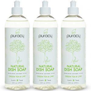 Puracy Natural Liquid Dish Soap, Green Tea, and Lime