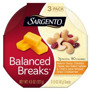 SARGENTO Balanced Breaks Natural White Cheddar Cheese (with almonds and dried cranberries)