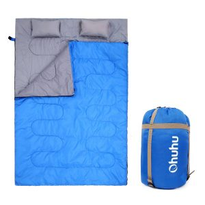 Ohuhu Double Sleeping Bag Great for backpacking includes two pillows and carrying case
