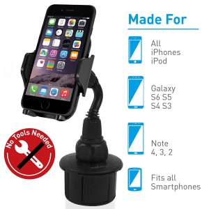 Macally Adjustable Automobile Cup Holder Phone Mount for iPhone X