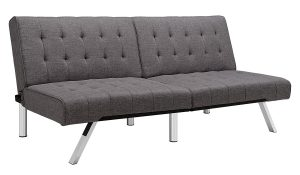 DHP Emily Futon Sofa Bed Modern Convertible Couch With Chrome Legs Quickly Converts into a Bed