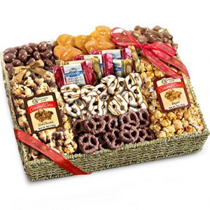 Gold sate fruit Chocolate, Crunch, and Caramel Grand Gift Basket