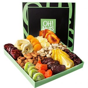 Holiday Nut and Dried Fruit Gift Basket, Healthy Gourmet Snack Christmas Food Box