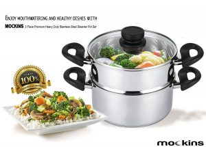 Mockins 3 Piece Premium Heavy Duty Stainless Steel Steamer