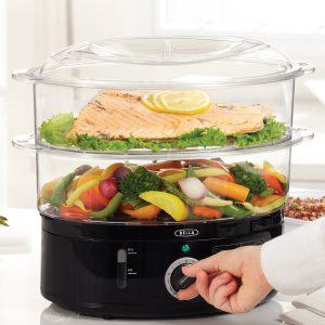 BELLA 7.4 Quart 2-Tier Stackable Baskets Healthy Food Steamer