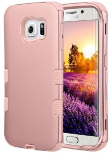 ULAK 3 in 1 Shield Shock Absorbing Case with Hybrid Cover Soft silicone for Samsung Galaxy S6 Edge