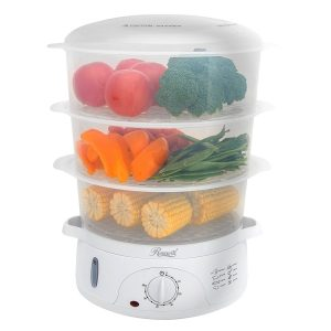 Rosewill BPA-free 3-Tier Stackable Baskets Electric Food Steamer with Timer