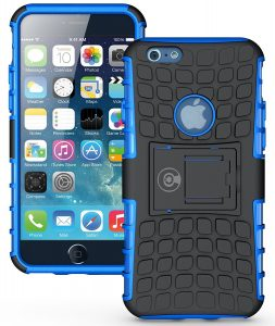 CellEver Tough Dual Layer 2 in 1 Rugged Rubber Hybrid Hard or Soft Impact Protective iPhone 6/6S Cable And Case
