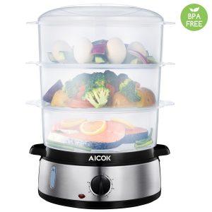 Aicok BPA FREE Healthy Steamer 9.5 Quart 3-Tier Electric Steamer