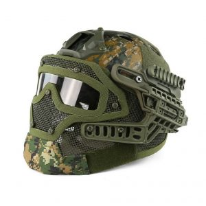 Simways PJ Type FAST Molle Tactical Helmet Combined With Full Mask