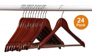 Home-it (24) Pack Solid Wood Clothes Hangers