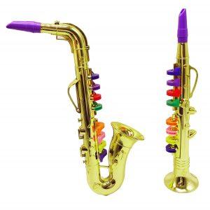 Blue Jazz Set of 2 Music Instruments Saxophone and Clarinet