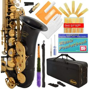 Lazarro Professional Black-Gold Keys Eb E Flat Alto Saxophone Sax
