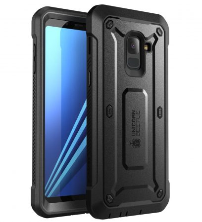 SUPCASE [Unicorn Beetle Pro Case for Galaxy A8 Plus 2020, Rugged Holster Cover with Built-in Screen Protector (Not Compatible with Galaxy A8 2020) (Black)