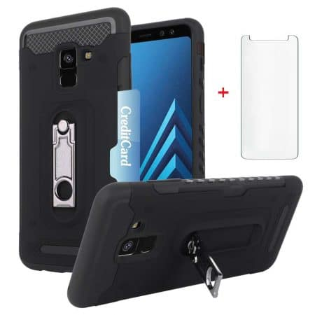 Samsung Galaxy A8 Plus 2020 Wallet Phone Case with Tempered Glass Screen Protector Credit Card Holder Slot Kickstand Slim Full Body Silicone Protective Hard Cover for Glaxay A8plus A8+ Women Men Black