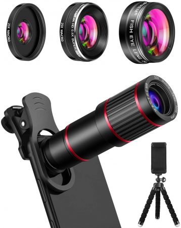 MACTREM Phone Camera Lens Phone Lens Kit 9 in 1, 20X Telephoto Lens, 205° Fisheye Lens, 0.5X Wide Angle Lens & 25X Macro Lens