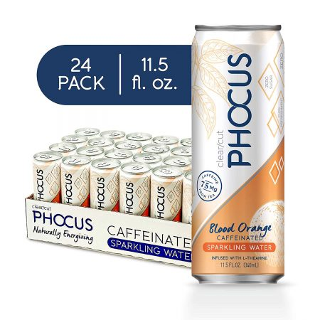 Phocus Sparkling Water, Naturally Energizing Caffeine + L-Theanine, Blood Orange 11.5 Ounce