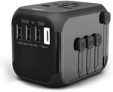 International Travel Adapter with Auto Resetting Fuse