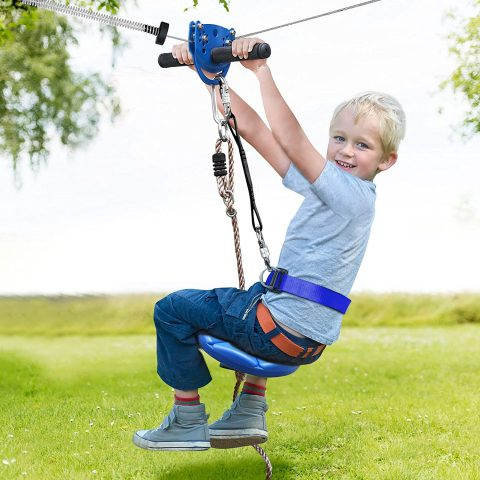 Jugader 160FT Backyard Zipline Kits for Kids with Cable Tensioning Kit